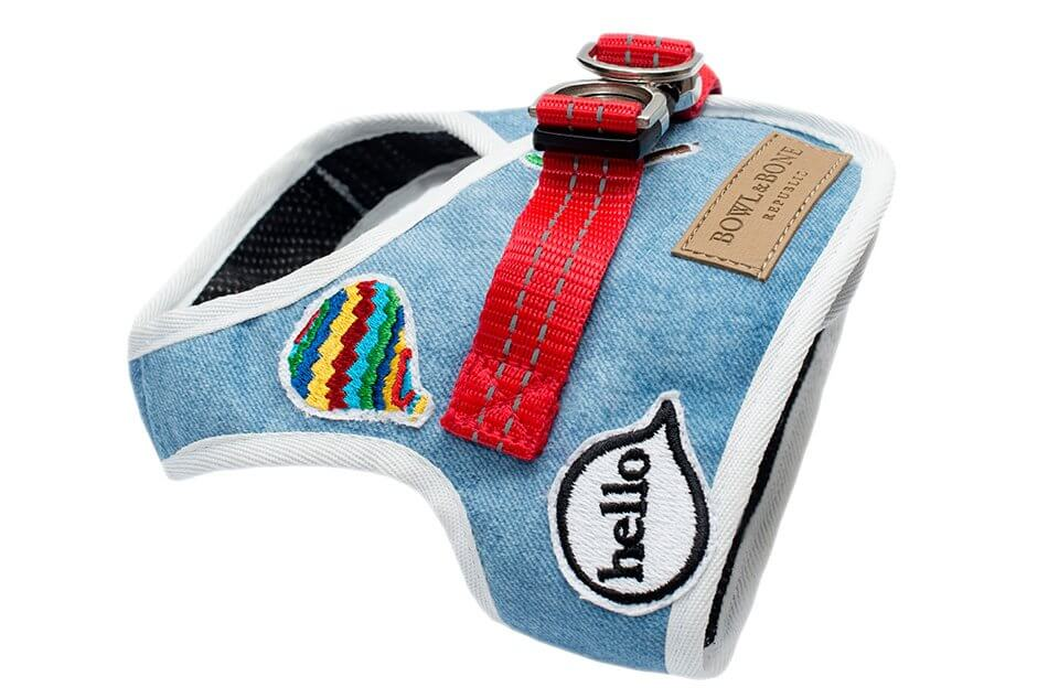 dog harness denim blue bowl and bone republic ps1sa