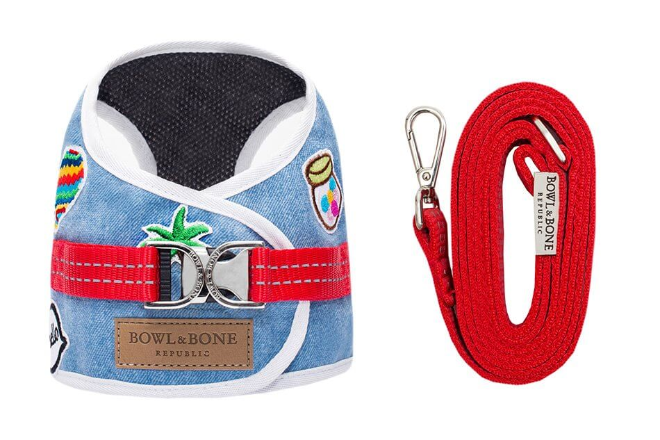 dog harness lead denim blue bowl and bone republic ps1sa