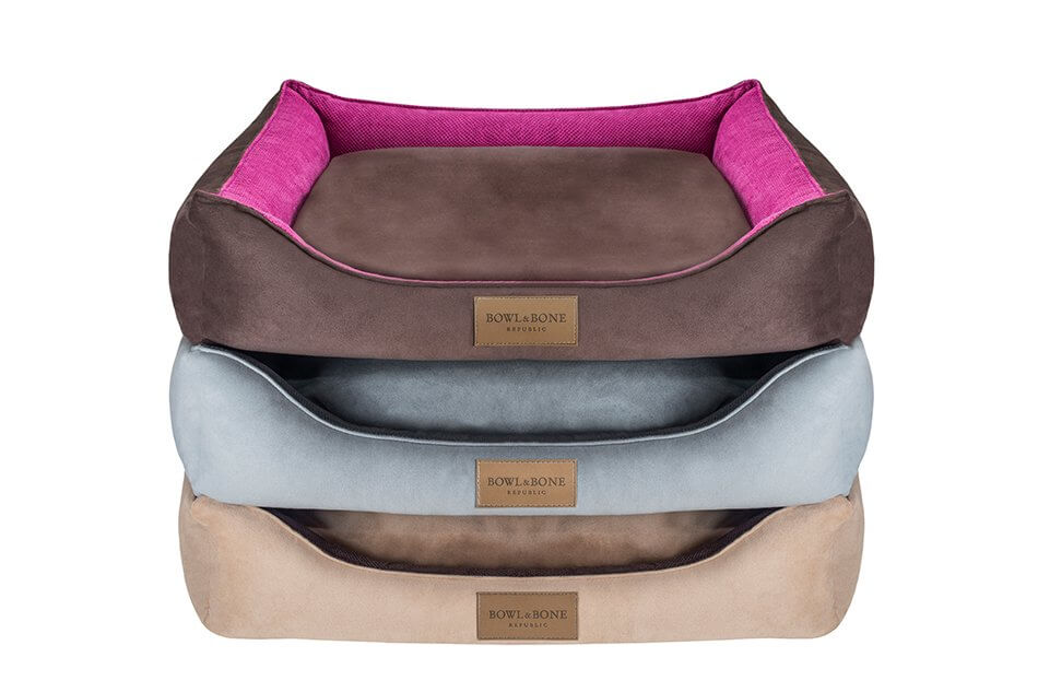 dog bed classic grey brown pink bowl and bone republic ps1sa