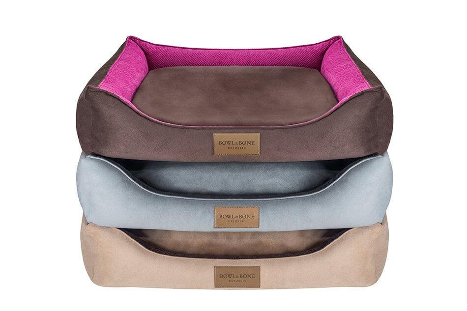 dog bed classic grey brown pink bowlandbonerepublic ps1sa