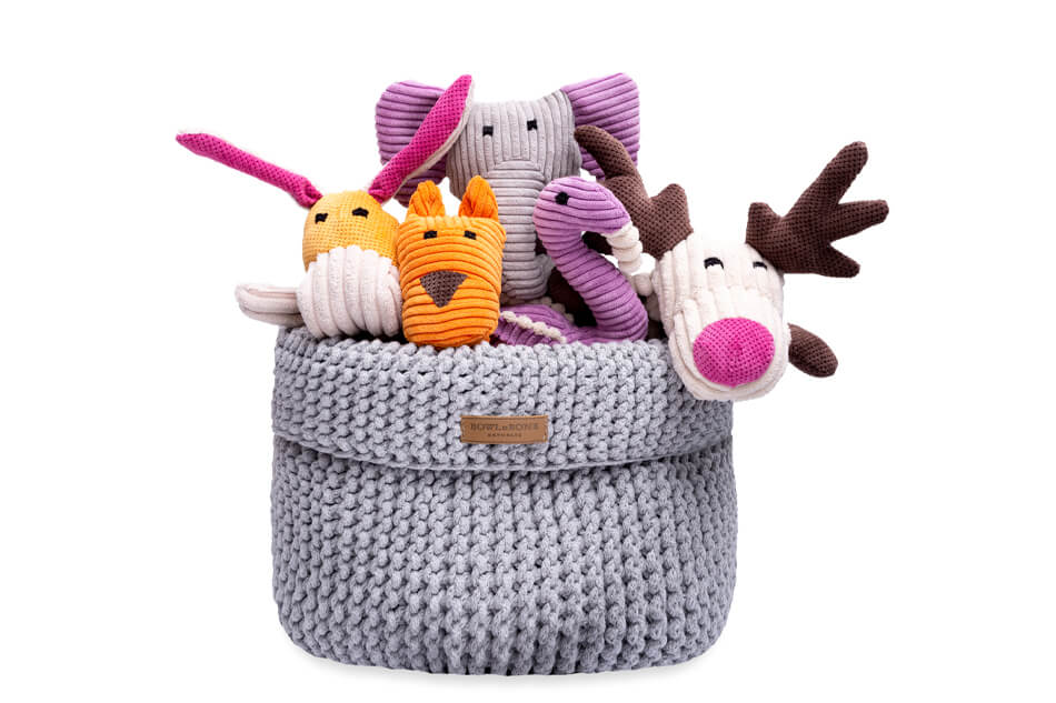 basket for dog toys cotton grey bowl and bone republic ps1sa