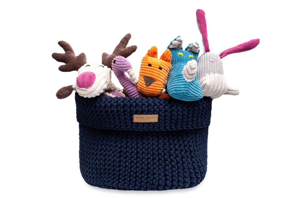 basket for dog toys cotton navy bowlandbonerepublic ps1sa