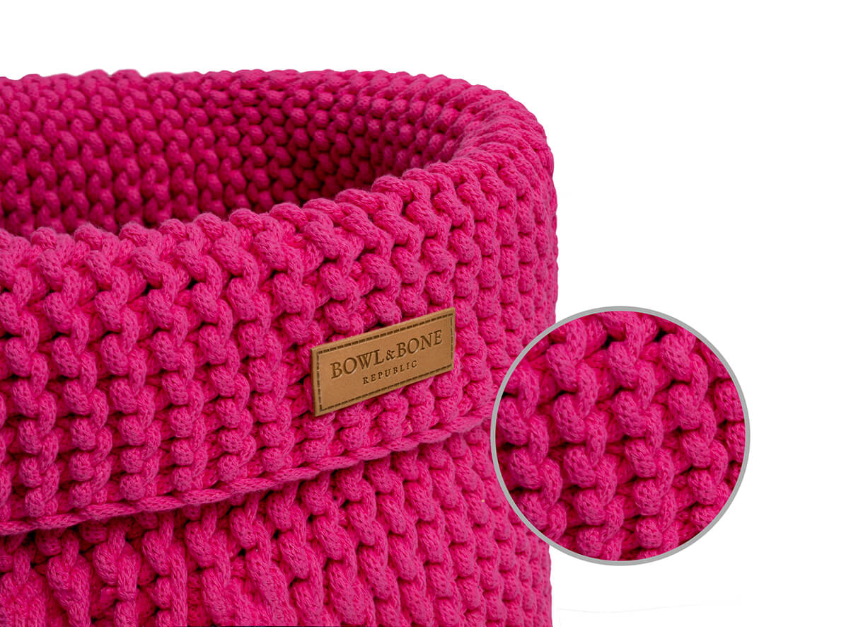 basket for dog toys cotton pink bowl and bone republic magnifier