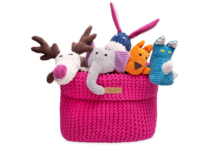 basket for dog toys cotton pink bowl and bone republic ps1sa