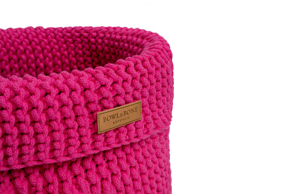 basket for dog toys cotton pink bowl and bone republic ps2sa