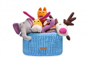 basket for dog toys double blue bowl and bone republic ps1sa