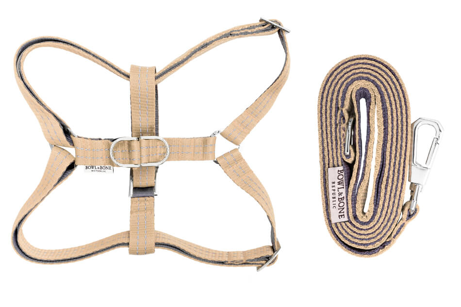 dog harness and lead active beige bowlandbonerepublic ps1sa