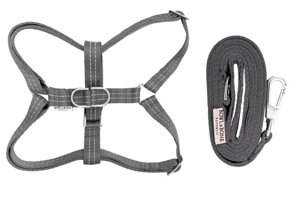 dog harness and lead active grey bowlandbonerepublic ps1sa