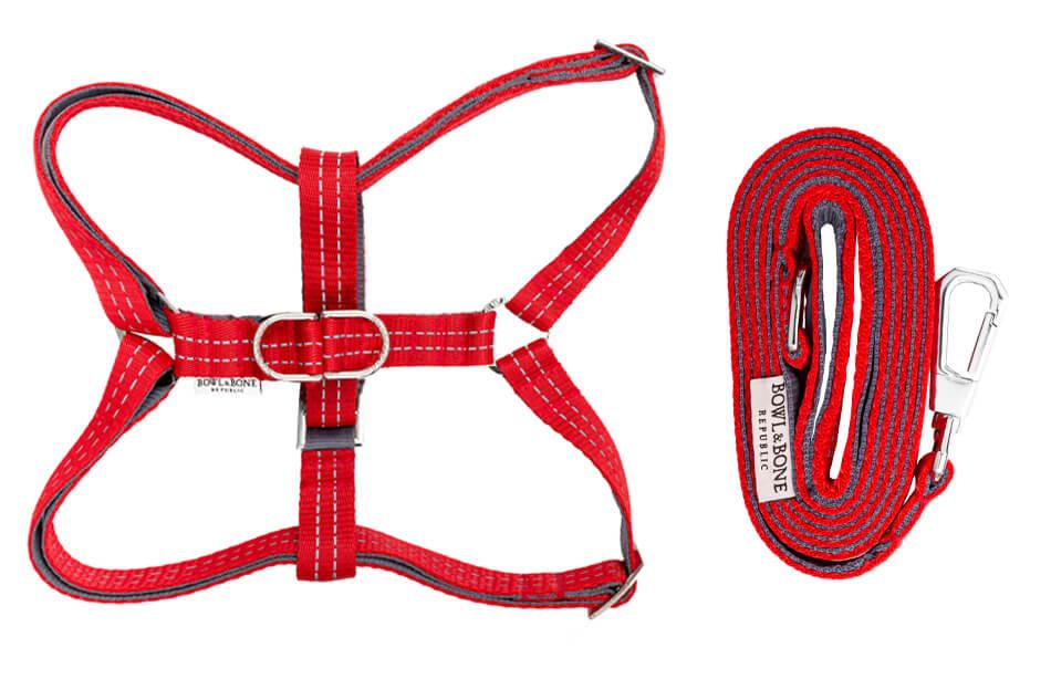 dog harness and lead active red bowlandbonerepublic ps1sa