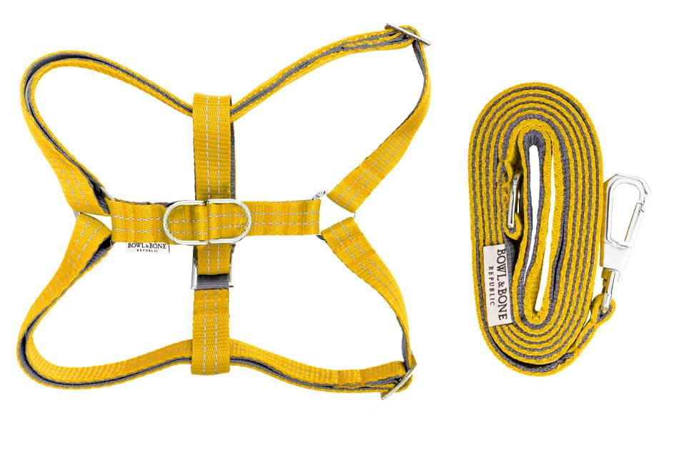 dog harness and lead active yellow bowlandbonerepublic ps1sa
