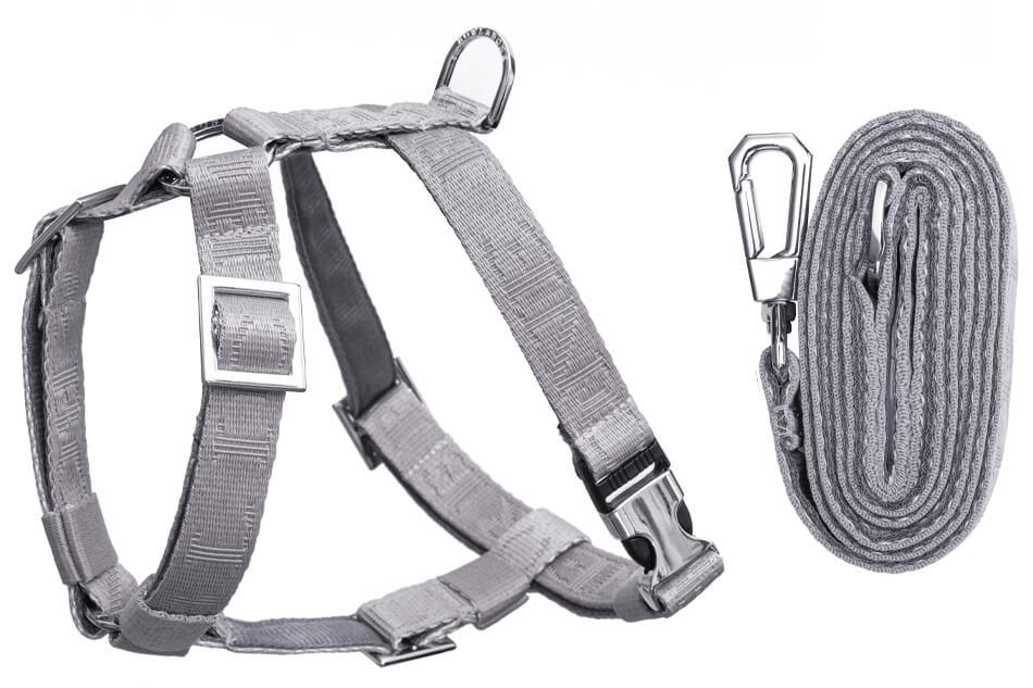 dog harness lead set guard bloom grey bowlandbonerepublic ps1sa